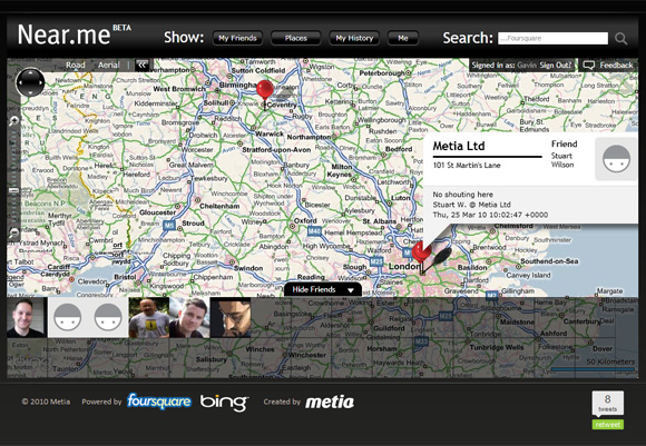 metia launch foursquare and bing maps mash up called silverlight buzz. Black Bedroom Furniture Sets. Home Design Ideas